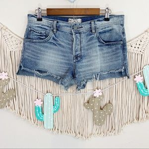 Free People Distressed Raw Hem Button Fly Shorts